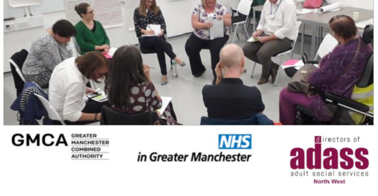 A circle of people participate in Jam and Justice's Care at Home Inquiry, plus a composite of sponsors logos - Greater Manchester Health and Social Care Partnership, NW ADASS, Shared Future CIC and Jam & Justice