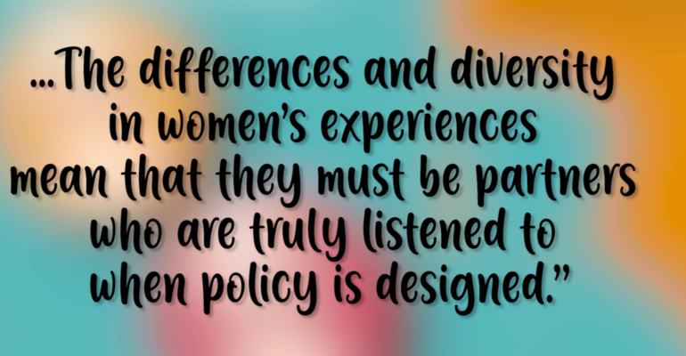 Quotation from the Fawcett Society: women must be partners when policy is designed